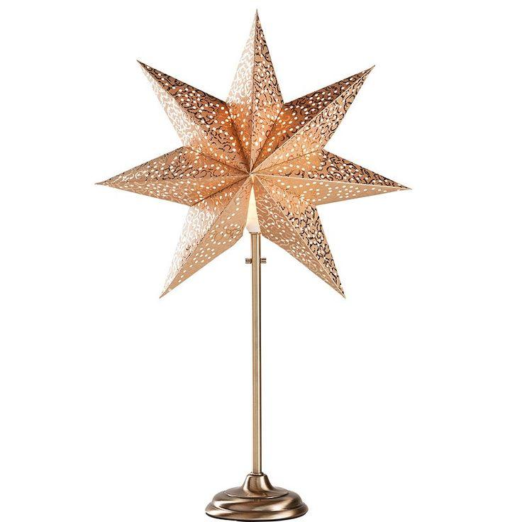 adventsstjärna guld åhlens på fot