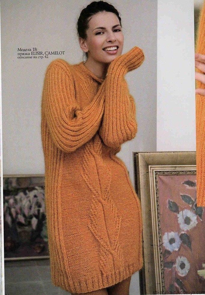 Тёплое платье вязаное спицами. Как связать теплое платье спицами
