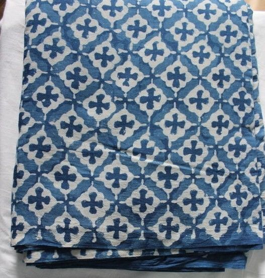 5 yards Indigo Dye sanganei cotton fabric hand block printed Dabu Print fabric K #KhushiHandicraft