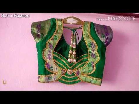 b440df814b022d Semi Paithani saree designer patchwork back neck blouse