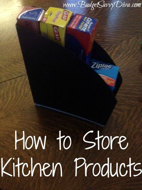 Use Magazine Rack to Store Kitchen Products   Budget Savvy Diva