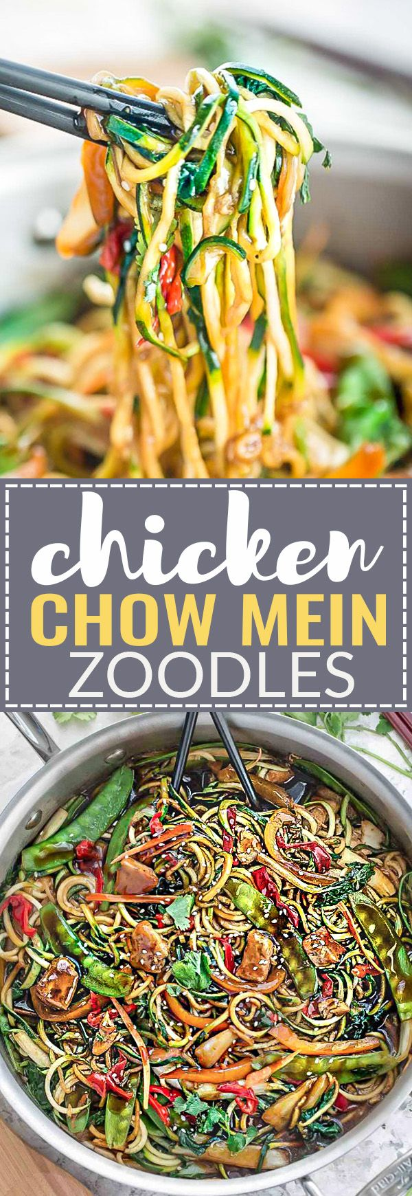 Chicken Chow Mein Zoodles {Zucchini Noodles} is the perfect easy and healthy weeknight meal! Best of all, it comes together in about 30 minutes in just one pot using lower carb spiralized vegetables and the most amazing authentic sauce! Forget calling restaurant takeout, this recipe is so much better with authentic flavors. Seriously the best! Weekly meal prep for the week and leftovers are great for lunch bowls for work or school.