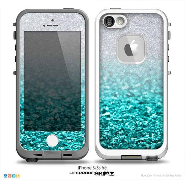 The Aqua Blue & Silver Glimmer Fade Skin for the iPhone 5-5s frē LifeProof Case