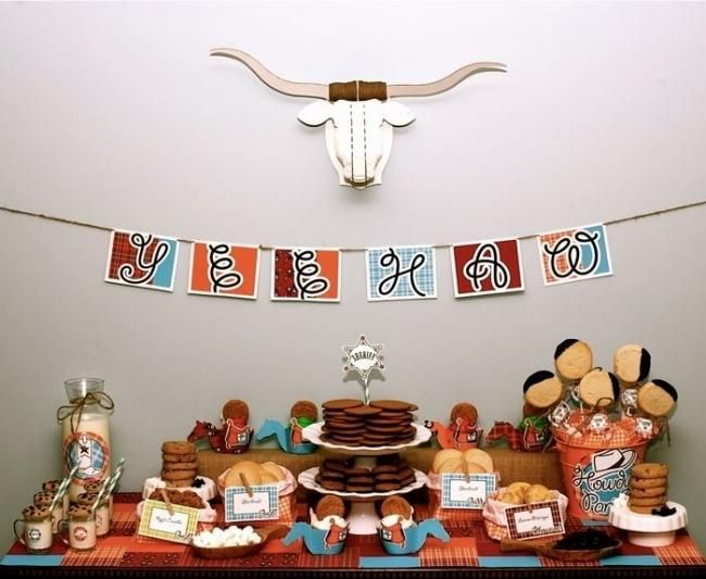 cowboys and cookies birthday party dessert table