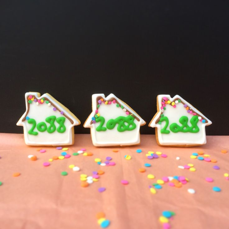 House cookies with postcode by Little Pudding