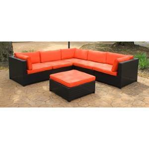Black Resin Wicker Outdoor Furniture Sectional Sofa Set - Orange Cushions