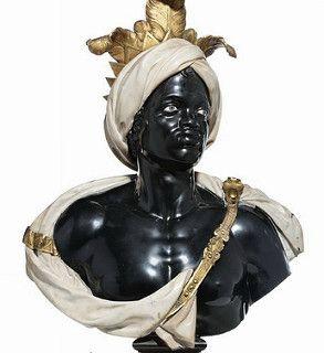 Anonimo Artist (veneziano) Due marmo Busti Italia (c 1750). Policroma in marmo, in bronzo dorato, 140,8 centimetri;  103,6 cm.  via Christie