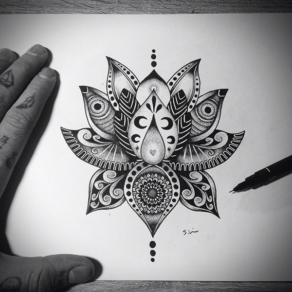 35 Awesome mandala lotus designs images