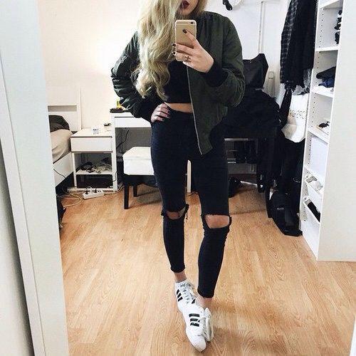 teen fashion cute outfit high waisted jeans adidas