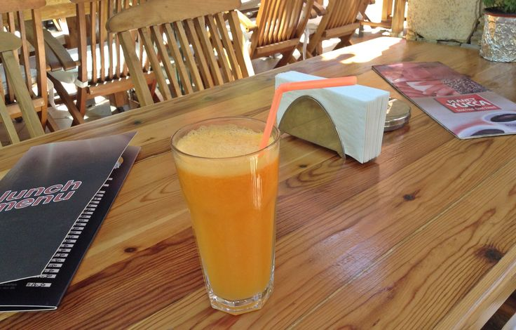 Orange Juice made from freshly squeezed oranges at Planet Yucca