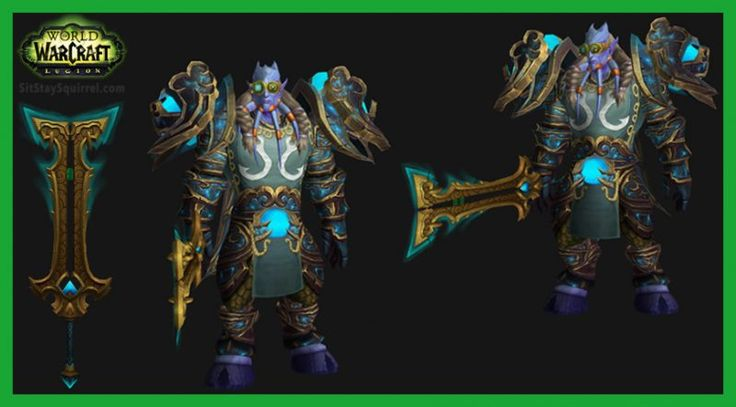 This Draenei Male Arms Warrior Transmog set features the new Stromkar artifact weapon. Blade of the Sky Champion Model with Blue Skin Transmog.