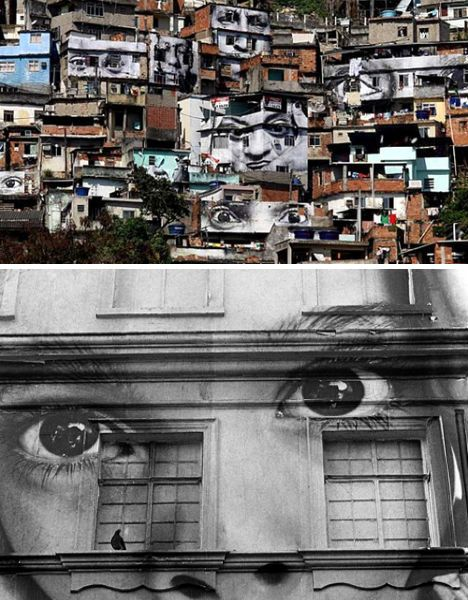 """The hills have eyes, literally, thanks to """"photograffeur"""" – that's photographer and 'graffeur', French for graffiti artist – JR, who gave a downtrodden Brazilian favela a curious makeover. The artist, known only by those initials and nearly as mysterious as Banksy, travels to downtrodden neighborhoods to carry out his largely unauthorized photo-pasting projects."""