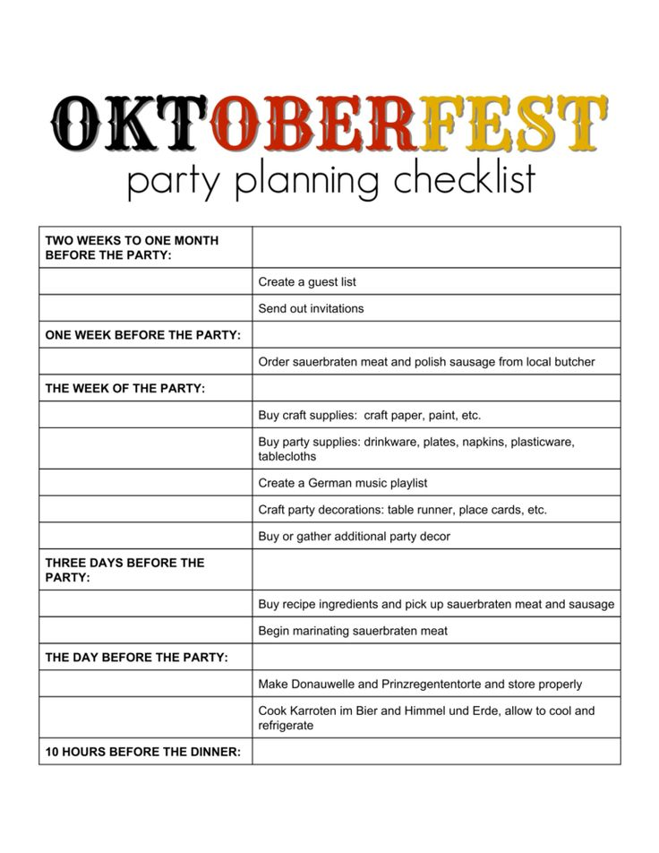Oktoberfest Party Planning Checklist