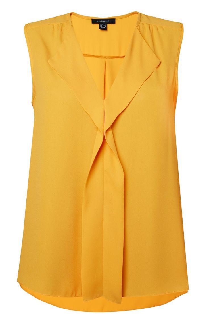 Blusa en cascada sin mangas amarilla