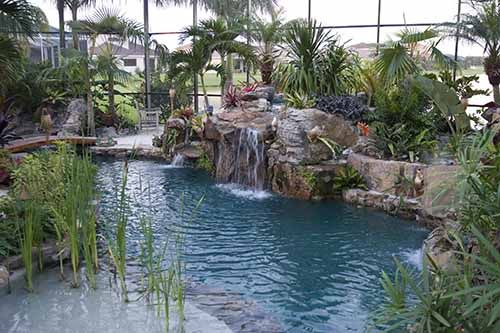 Lagoon Pool With Grotto Waterfall Spa And Fire Pit By