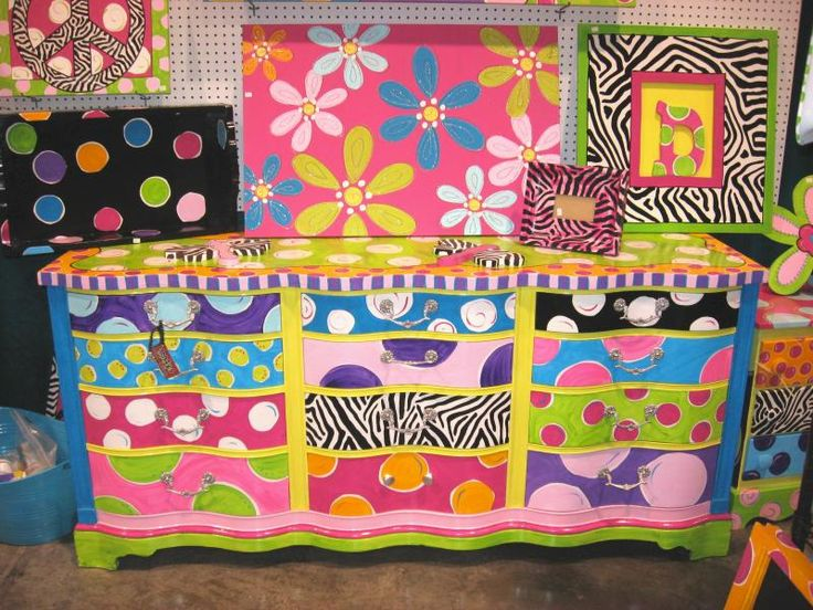 Painted furniture i would limit colors to room decor for Funky furniture