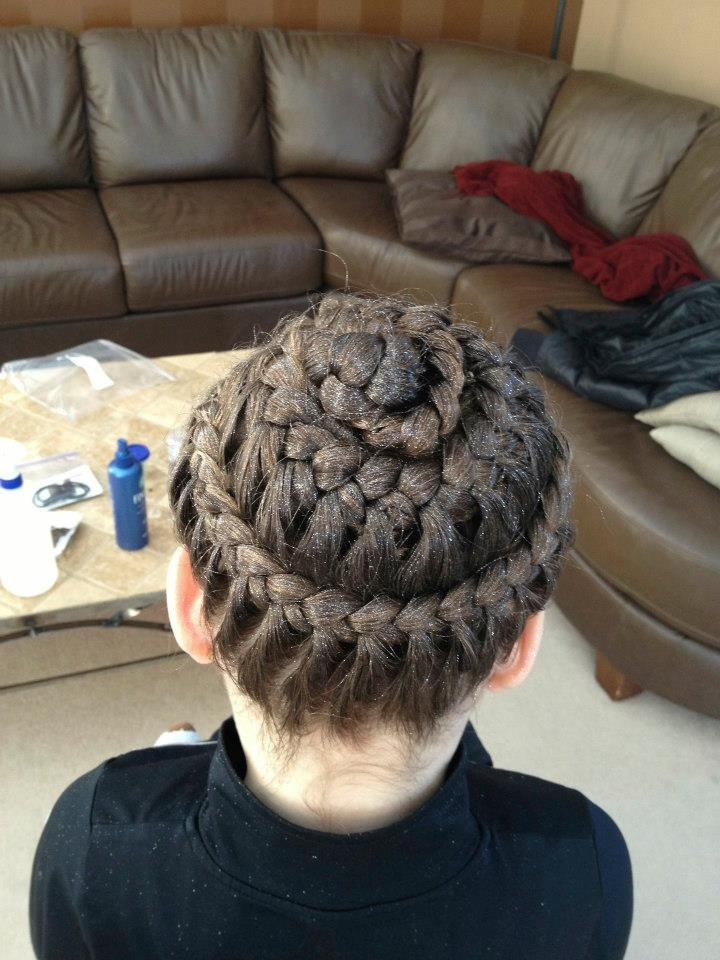 EverythingPretty braided Brooklyn Law's hair for a Gymnastics competition! Lace braided Bee Hive 780-498-0989 to book an appointment