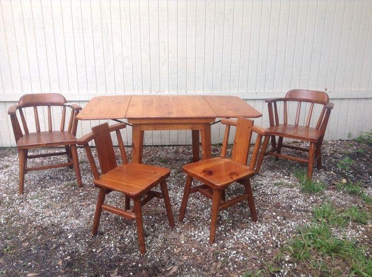 Habitant Shops Vintage Knotty Pine Dining Table Chair Set RusticPrimitive HabitantShopsInc