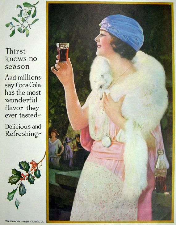 1924 Coke ad Flapper Girl Coca Cola glass Fur Stole - Thirst Knows No Season - Vintage - Authentic - Christmas - Great to Frame