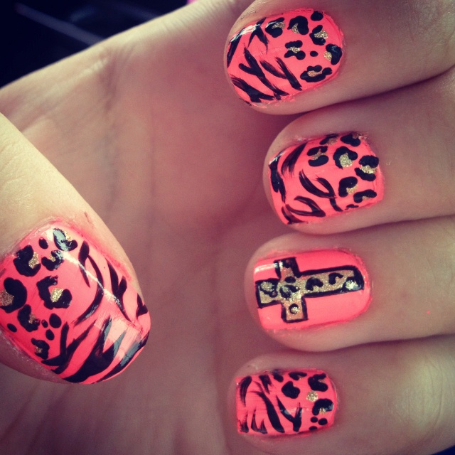 171 best nails images on pinterest accessories design and doll did my nails cheetah zebra cheetah cross prinsesfo Image collections