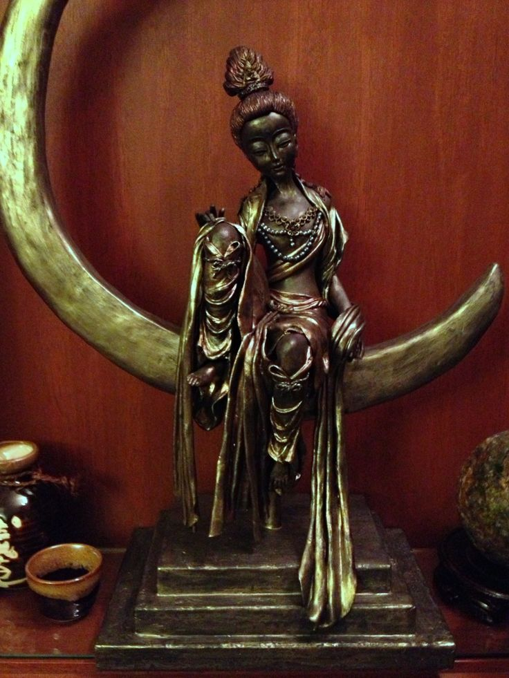 New Age Goddess of Mercy .... made with Yenji black clay and painted with metallic paint
