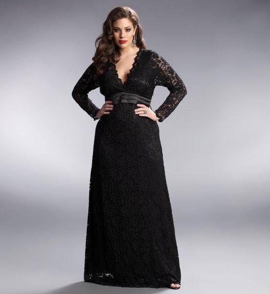 Vestidos de Renda Longo Plus Size Para Formatura Preto 3