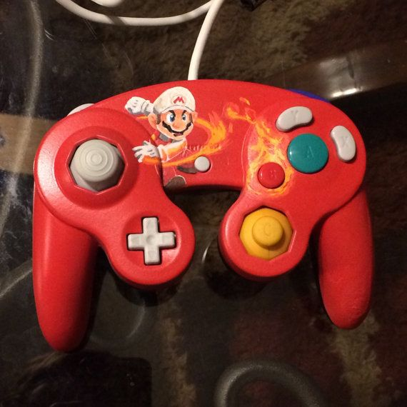 Hand Painted Custom Designed Controllers By Gametattoos On Etsy Gamecube Controller Custom Design Super Smash Bros