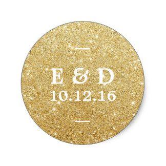 Modern Gold Glitter Elegant Wedding Favor Stickers.