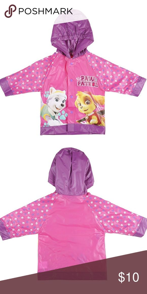 Nickelodeon Paw Patrol Rain Slicker 100% Polyurethane, noninsulated Hand wash Officially Nickelodeon Licensed  Item100% vinyl water repellent material that is resistant to moisture and humidity. Secure, easy-to-fasten snap buttons and an adjustable elastic hood provide added convenience. Worn once before Little Miss grew out of it! Runs small, would probably be better for a child wearing 4T. Bundle with the boots in our Closet or order separately! Excellent condition!! Smoke free home…