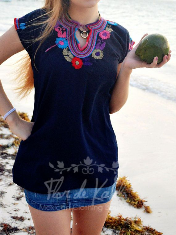 Blue Traditional Hand Embroidered Mexican Blouse / Colorful