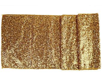 """Sequin Table Runner Solid Gold 12""""x108""""-Just Artifacts Brand-Item SKU:LTR120006- Metallic Table Runners for Weddings, Parties, & Events"""