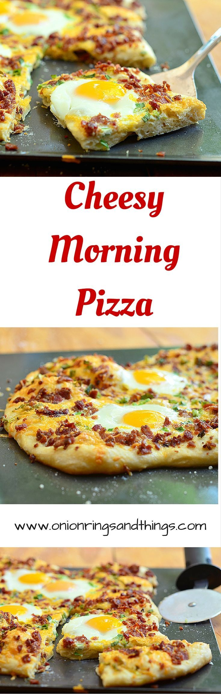 Cheesy Morning Pizza is a breakfast pizza topped with crumbled bacon, sharp cheddar cheese and sunny eggs