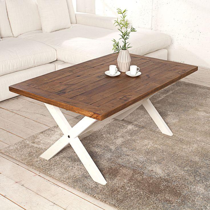 Couchtisch BYRON 120cm Weiss Vintage Braun Beistelltisch Tisch Holz In Mbel Wohnen