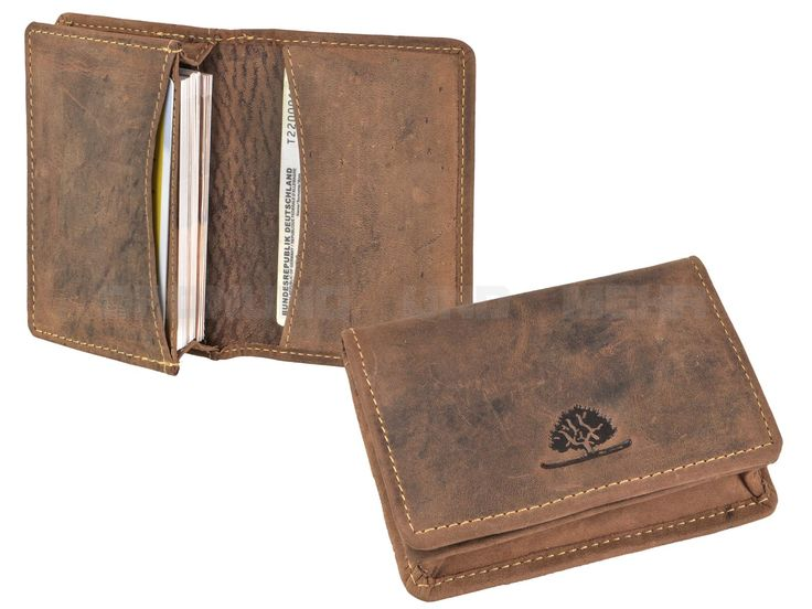 Greenburry VINTAGE - Leder Kartenetui Visitenkartenbox kleine Geldbörse - antikbraun 1684-25