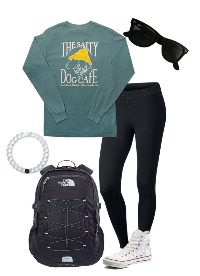 """""""Salty Dog Cafe"""" by savsmithh on Polyvore featuring NIKE, Comfort Colors, Converse, Lokai, The North Face, Ray-Ban, Spring, Fall, preppy and converse"""