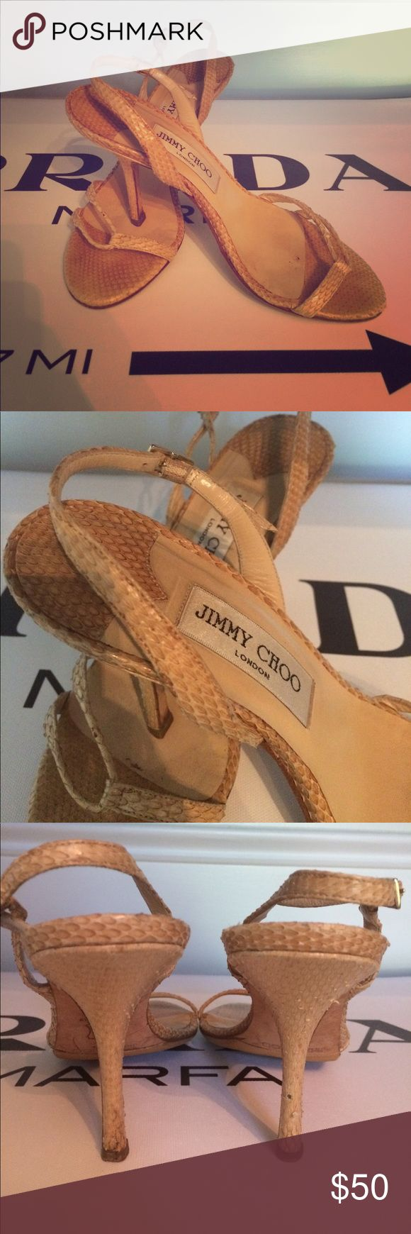 Jimmy Choo slingback sandal Very much loved but still pretty tan snakeskin sandal. Jimmy Choo Shoes Sandals