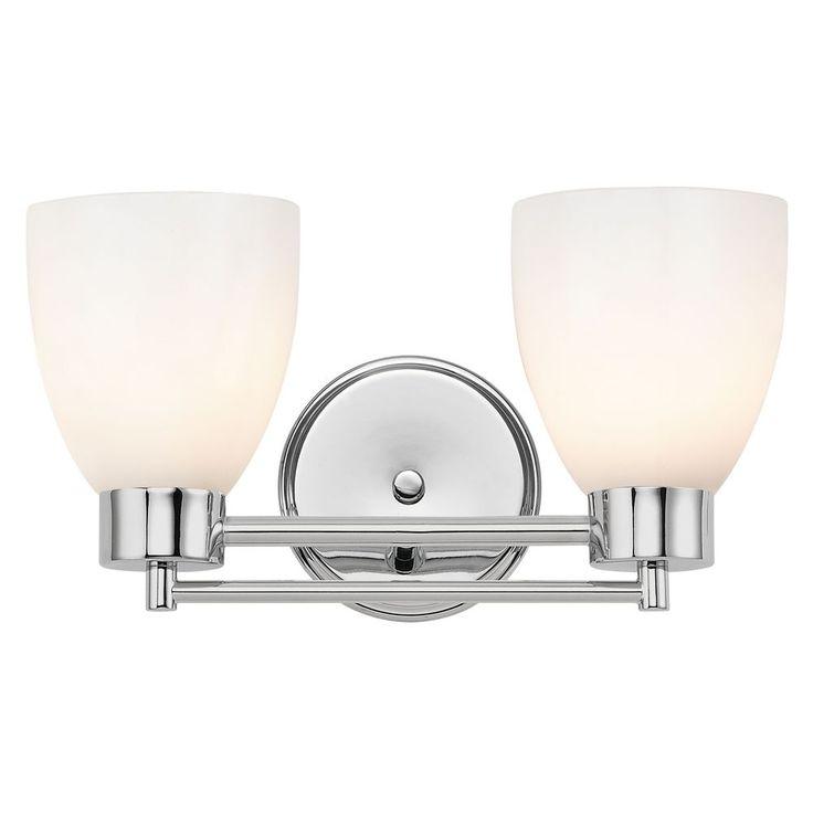 Design Classics Lighting Modern Bathroom Light with White Glass in Chrome Finish 702-26 GL1024MB