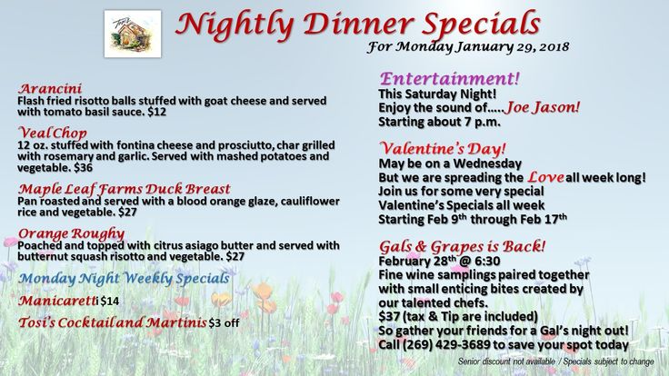Nightly Dinner Specials For Monday January 29, 2018