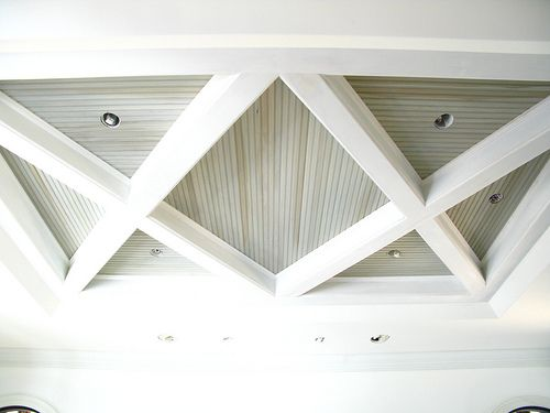 ceiling detail - light beams with soft gray paneling- could replicate in family room and exterior covered patio