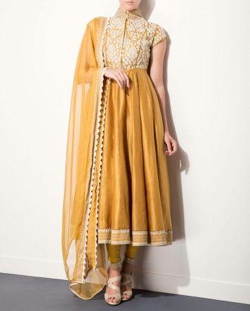 Camel Anarkali Set with Embroidered Yoke by AM:PM #Anarkali #KurtaSet #Prints #Dress #Quirky #Motifs #Embroidery #Floral #Black #Brown #India #Blue #Fuchsia #Designer #Indian #Luxury #Ethnic #DesignerWear #Fashion #AnkurModi #PriyankaModi #ExclusivelyIn #AMPM #Style