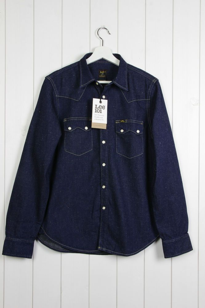 NEW LEE 101 SAW WESTERN RIDER DENIM SHIRT SAWTOOTH INDIGO DARK BLUE S/M/L/XL