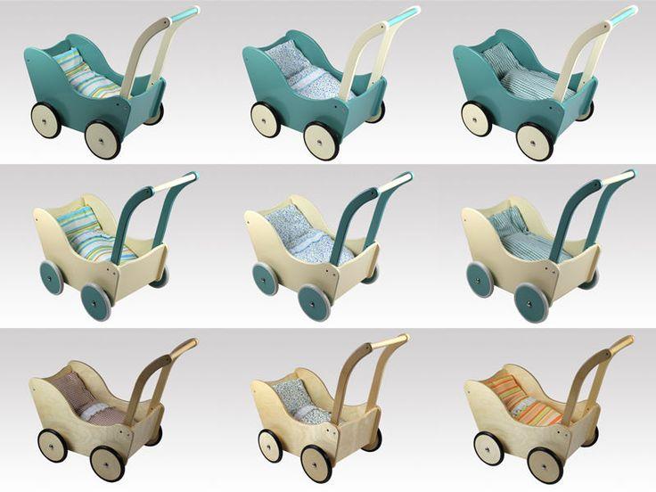 Lauflernwagen Holz Puppenwagen ~ Puppenwagen Holz, Lauflernwagen mit BREMSE von LARIX TOYS mit