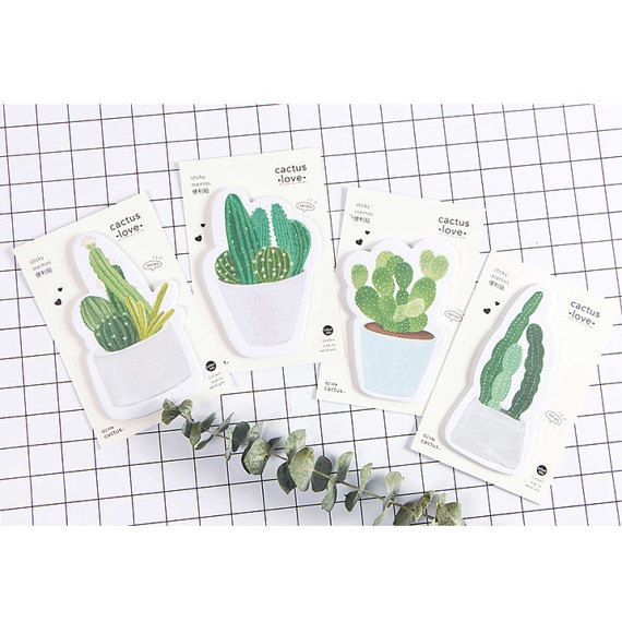 Cactus Love Sticky Notes (30 sheets x 1 pc) Korean Stationery Paper Note Planner Memo Pad Notepad