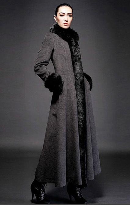 Black Maxi Coat With Faux Fur Trim