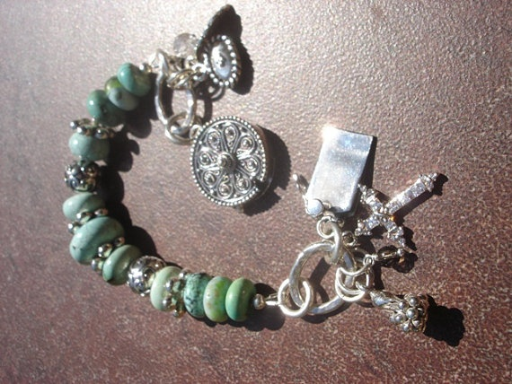A Healing Prayer - Mint Green Turquoise, Crystals and A Healing Word Sterling Silver Bracelet.