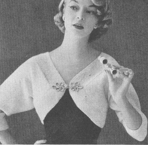 Vintage 1950s Shrug Bolero Knitting Pattern PDF 5502 Mid Century Jumper Sweater Size Small Medium, Large Bust 30-40