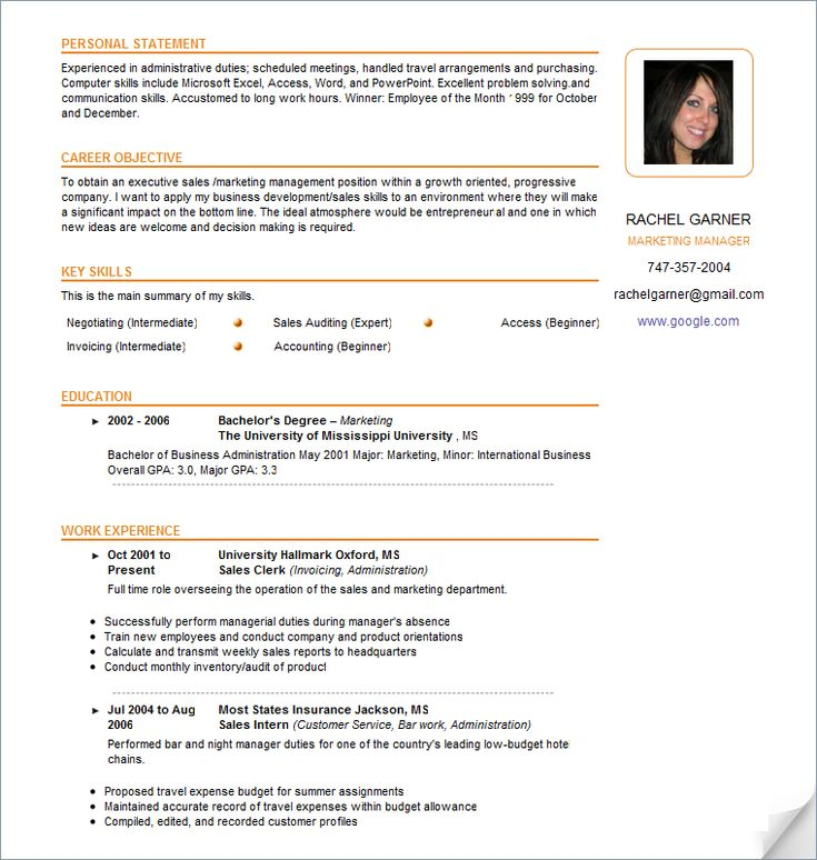 resume examples - Google Search