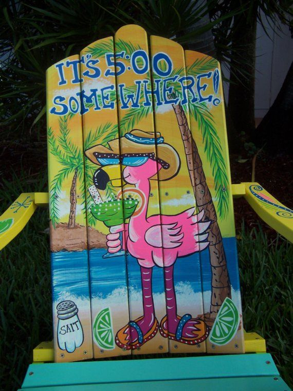 This Adirondack Chair is handcrafted and hand painted on pine wood. The measurements of the chair are: 36 high 29 wide 31 deep  We have painted a really awesome Flaming Beach Scene. The flamingo has her straw hat on and she is holding her Margarita.  A really awesome piece that will make a great addition to your backyard. It will look great in your Tiki Bar or around your pool. This chair will also look really great inside your home in any room decorated in a Tropical or Beach Theme.  A…