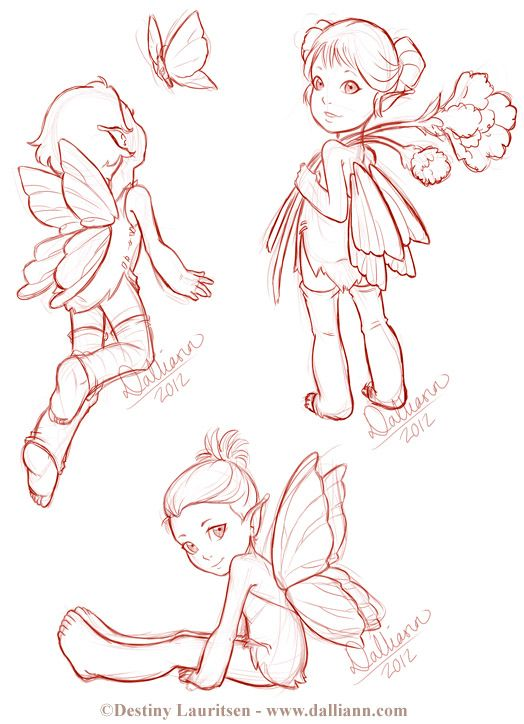 Fairy Sketches - ©Dalliann 2012