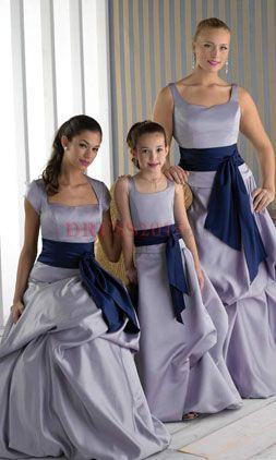 Bridesmaid dresses Different colored bands and bows